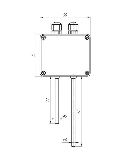 Датчик влажности и температуры Модификация ДВТц-013 с клеммной головкой G302 чертёж
