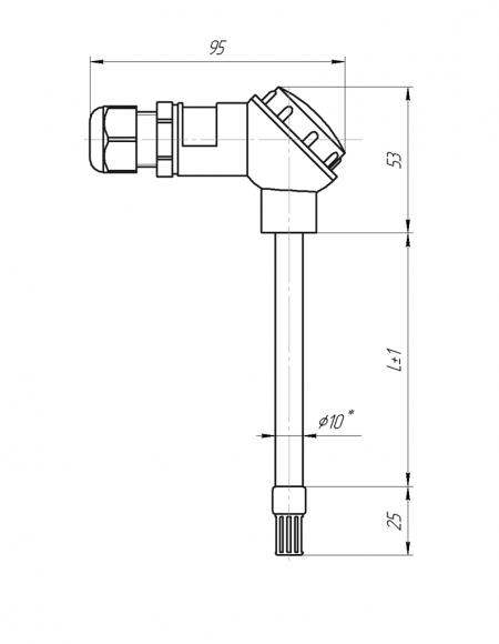 Датчик влажности и температуры цифровой Модификация ДВТц-001 с стандартной карболитовой головкой чертёж