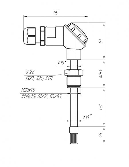 Датчик влажности и температуры цифровой Модификация ДВТц-002 с стандартной клеммной головкой чертёж