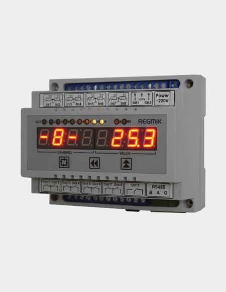 Регулятор двухпозиционный восьмиканальный программируемый (РД8) Д6 вид спереди