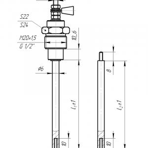 ДАТЧИК УРОВНЯ с возможностью удлинения электрода габаритные размеры