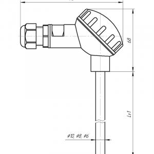Чертёж датчика температуры с большой карболитовой клеммной головкой(Модификация 001)