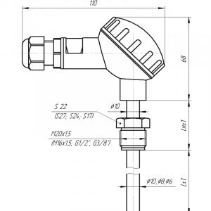 Чертёж датчика температуры с большой карболитовой клеммной головкой(Модификация 002)