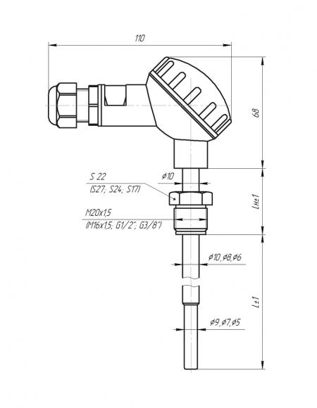 Чертёж датчика температуры с большой карболитовой клеммной головкой(Модификация 003)