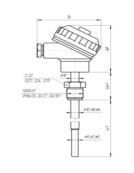Чертёж датчика температуры с клеммной головкой из дюралюминия(Модификация 003)