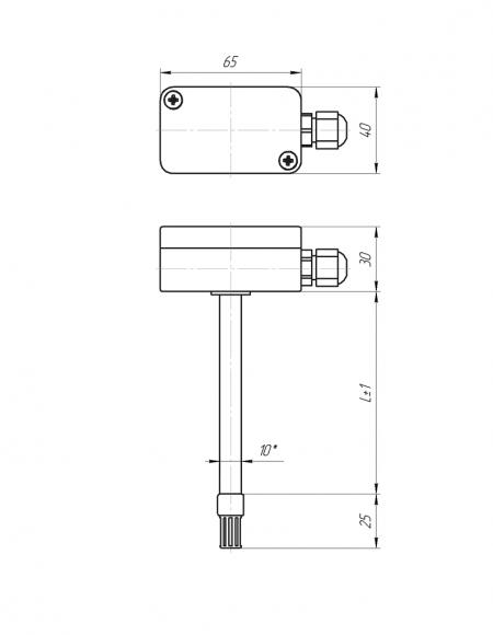 Чертёж датчика влажности и температуры ДВТц-011