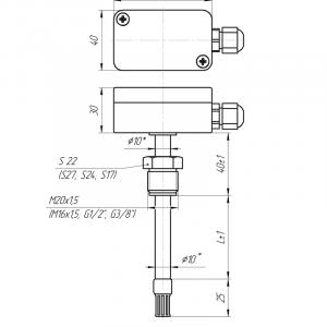 Чертёж датчика влажности и температуры ДВТц-012