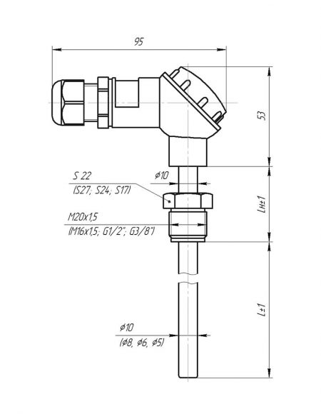 Чертеж датчика температуры (Модификация 002)