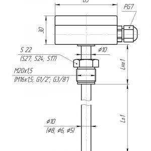 Чертеж датчика температуры (Модификация 012)