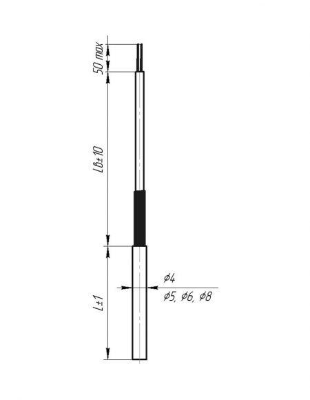 Чертеж датчика температуры (Модификация 102)