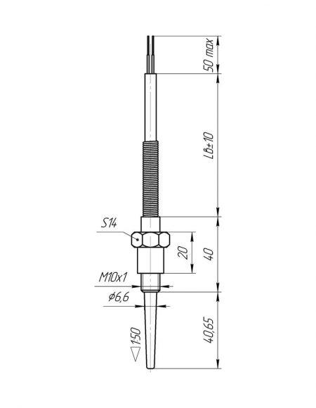 Чертеж датчика температуры (Модификация 104)