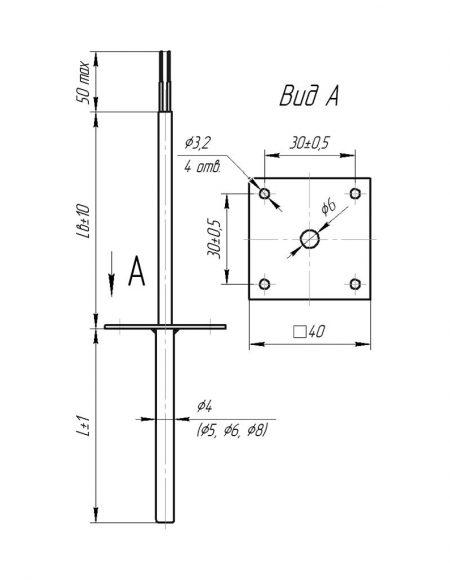 Чертеж датчика температуры (Модификация 107)