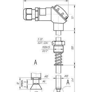 Чертеж датчика температуры (Модификация 202)
