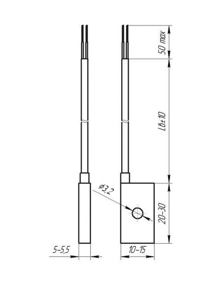 Чертеж датчика температуры (Модификация 204)