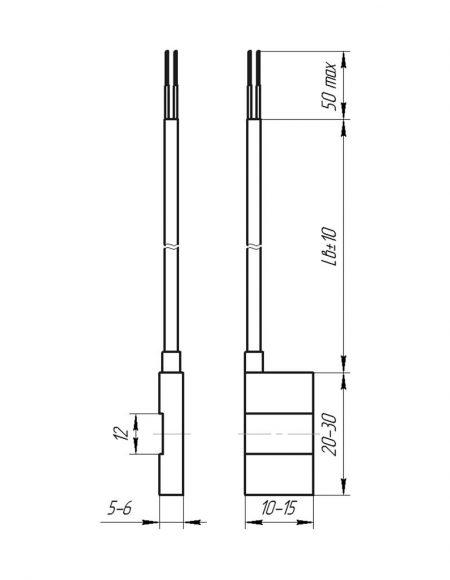 Чертеж датчика температуры (Модификация 206)